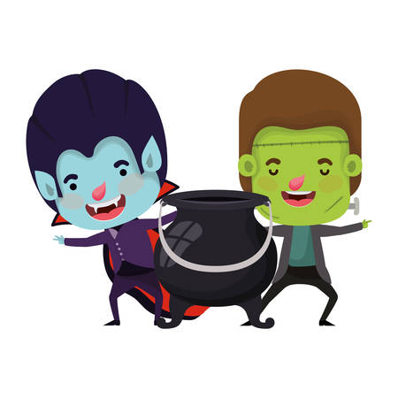 cute little boys with frankenstein and dracula costume vector illustration design Иллюстрация
