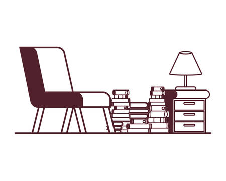 living room with couch and stack of books vector illustration design