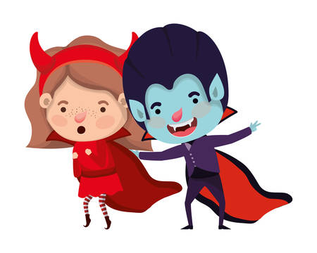 cute little kids with dracula and devil costume vector illustration design