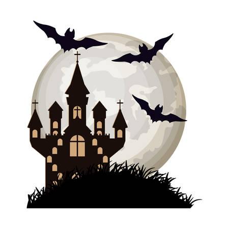 halloween bats flying with castle in night scene vector illustration design