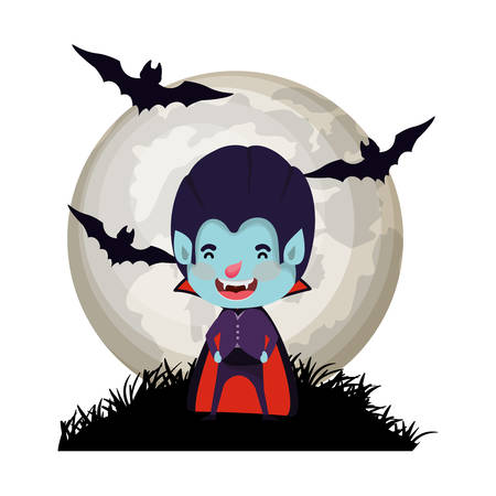 boy with dracula costume and bats flying in cemetery vector illustration design