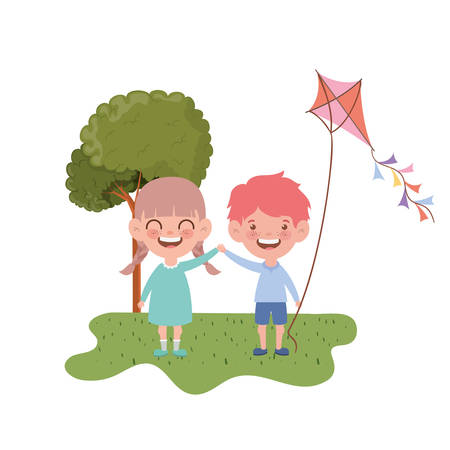 couple baby standing with kite in the hand vector illustration design