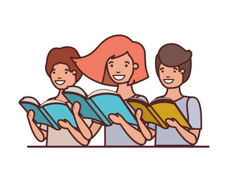 group of student with reading book in the hands vector illustration design