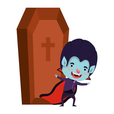 cute little boy with dracula costume and coffin vector illustration design Иллюстрация