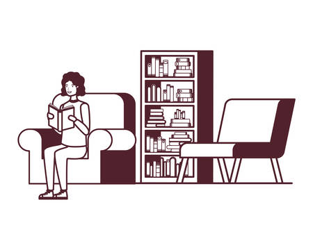 silhouette of man with book in hands in living room vector illustration design 일러스트