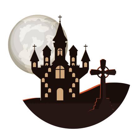 dark cemetery with castle night scene icon vector illustration design Ilustracja