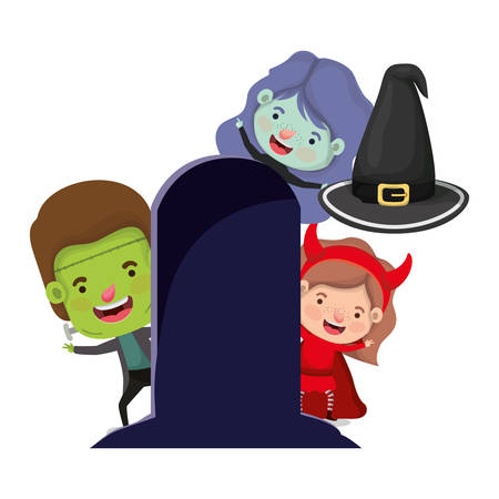 cute little kids with costume in grave cemetery vector illustration design