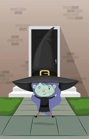 little girl with witch costume in the house door vector illustration design Иллюстрация