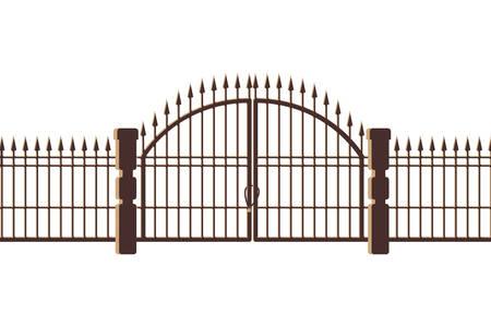 kerkhof poort en deur pictogram vector illustratie ontwerp