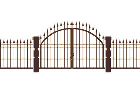 La puerta del cementerio y el icono de la puerta, diseño de ilustraciones vectoriales
