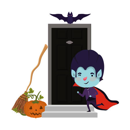 boy with dracula costume and bats flying in door house vector illustration design