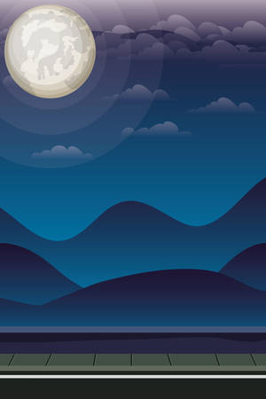 road and landscape night scene vector illustration design Ilustração