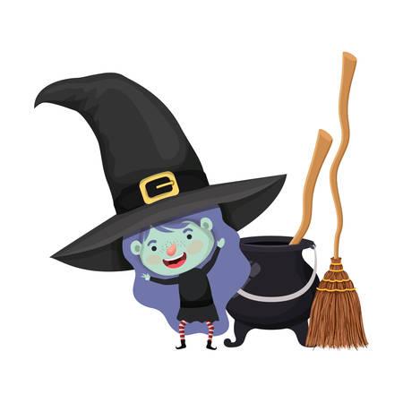 carino bambina con costume da strega e calderone illustrazione vettoriale design Vettoriali