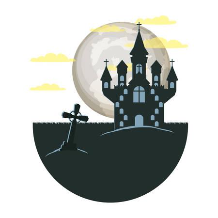 dark cemetery with castle night scene icon vector illustration design Иллюстрация