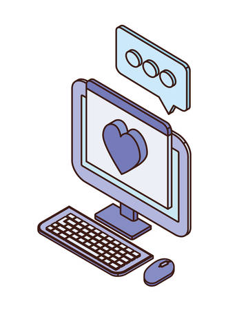 desktop computer screen with email notifications vector illustration design