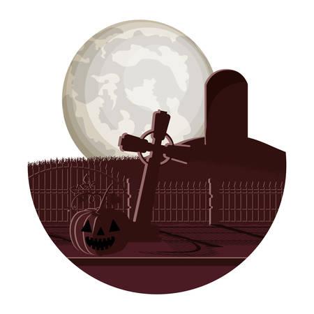 dark cemetery with pumpkin night scene icon vector illustration design