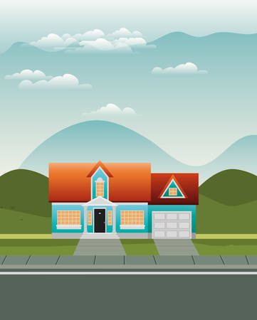 beautiful house in the neighborhood scene vector illustration design