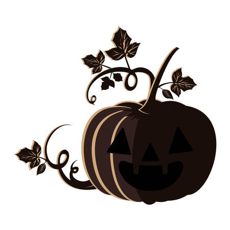 halloween pumpkin with face and leafs vector illustration design  イラスト・ベクター素材