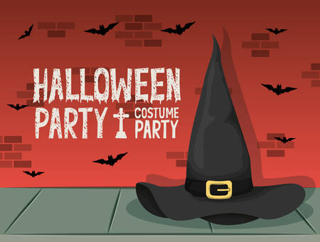 halloween celebration card with witch hat and bats vector illustration design