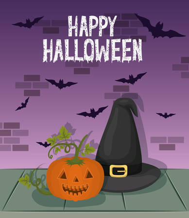 halloween celebration card with witch hat and pumpkin vector illustration design  イラスト・ベクター素材