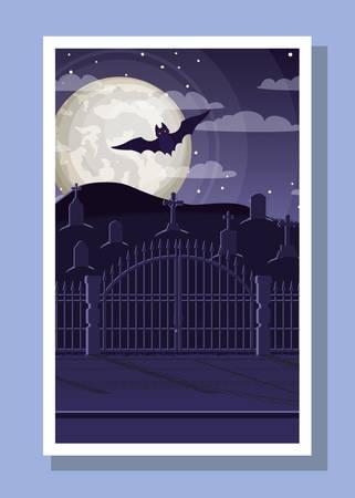 halloween season card with bat flying in cemetery vector illustration