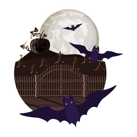 halloween bats flying with pumpkin in cemetery night scene vector illustration