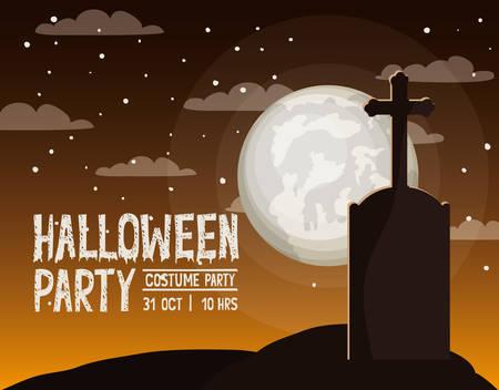 halloween season card with cemetery scene vector illustration design