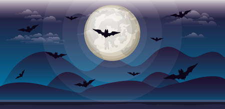 halloween celebration card with bats flying in the sky vector illustration design