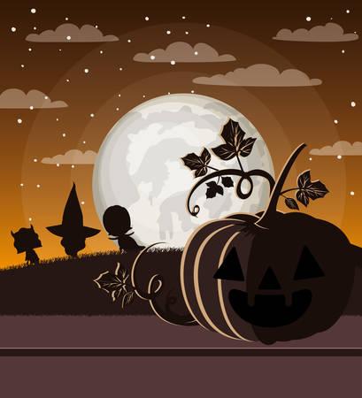 halloween season card with pumpkins in dark night scene vector illustration  イラスト・ベクター素材