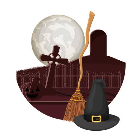 witch broom and hat in cemetery scene vector illustration design