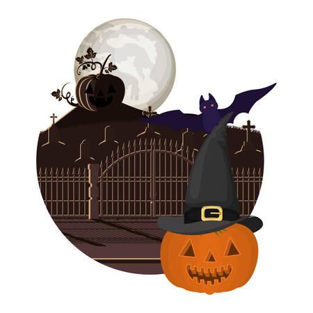 halloween pumpkin with bat flying in cemetery vector illustration design