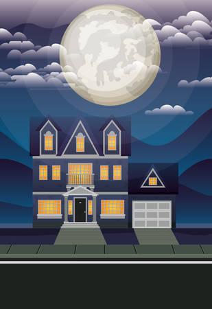 beautiful house in the neighborhood at night scene vector illustration design