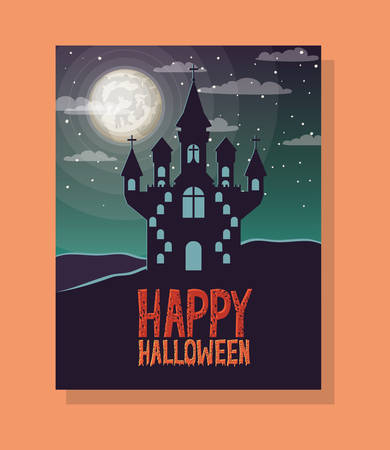 halloween season scene with castle night vector illustration design