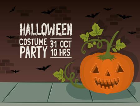 halloween celebration card with pumpkin character and bats vector illustration design Illustration