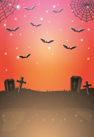 dark cemetery night scene icon vector illustration design