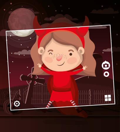 halloween season scene with girl costume devil vector illustration design
