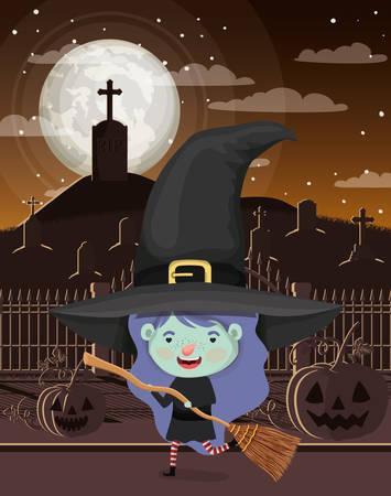 halloween season scene with girl costume witch vector illustration design
