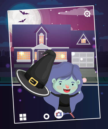 halloween season scene with girl costume witch vector illustration design