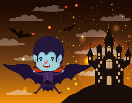 halloween season scene with boy costume dracula vector illustration design