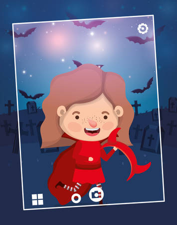 halloween season scene with girl costume devil vector illustration design