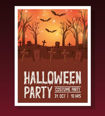 halloween postcard with dark cemetery scene vector illustration design  イラスト・ベクター素材