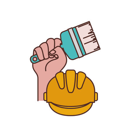 hand with paint brush tool and helmet isolated icon vector illustration design