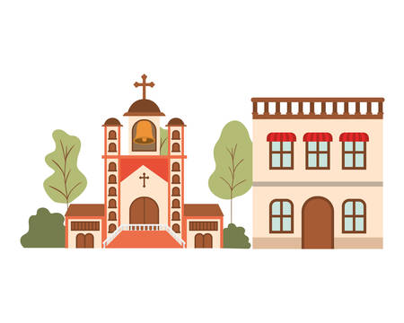 neighborhood houses in landscape isolated icon vector illustration design