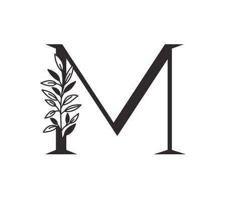 letter M of the alphabet with leaves vector illustration design Иллюстрация