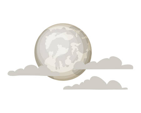 full moon with clouds on white background vector illustration design