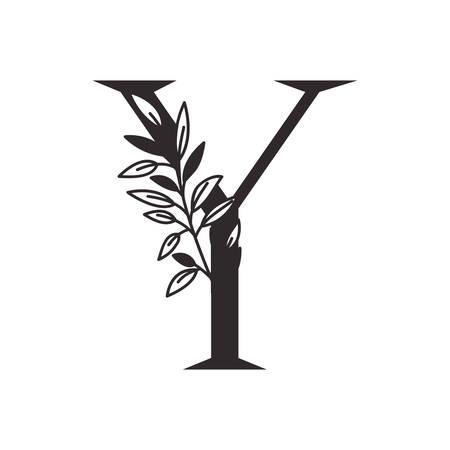Lettre Y de l'alphabet avec des feuilles de conception d'illustration vectorielle Vecteurs