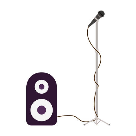 stereo speaker with microphone on white background vector illustration design