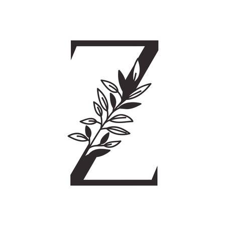 Lettre Z de l'alphabet avec des feuilles de conception d'illustration vectorielle Vecteurs