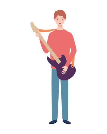 young man with electric guitar on white background vector illustration design Illustration