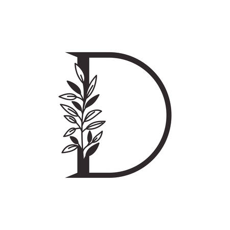 letter D of the alphabet with leaves vector illustration design Фото со стока - 130087853